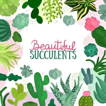 Illustrazione di cornice di piante grasse