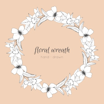 Illustrazione di corona floreale disegnata a mano