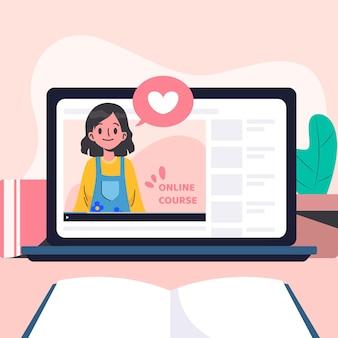 Illustrazione di corsi online design piatto