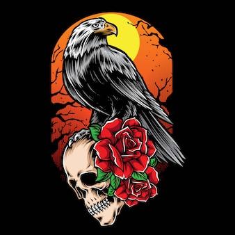 Illustrazione di corvo e teschio