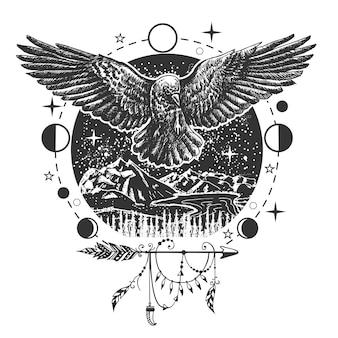 Illustrazione di corvo nero