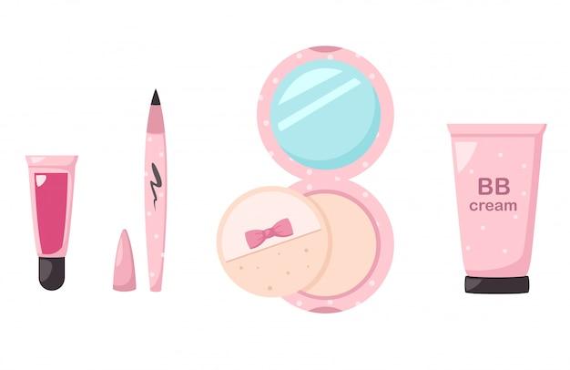 Illustrazione di cosmetici set isolati