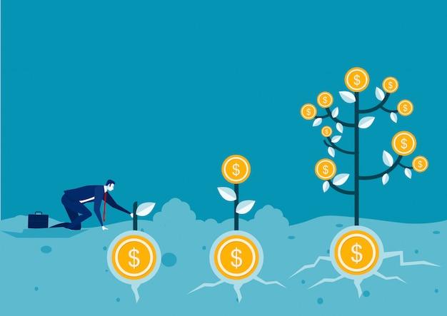 Illustrazione di crescita dell'albero della moneta dei soldi della pianta dell'uomo d'affari