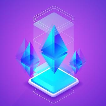 Illustrazione di criptovaluta di ethereum della piattaforma blockchain per la fattoria mineraria di ether.