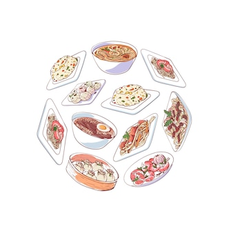 Illustrazione di cucina cinese con piatti asiatici