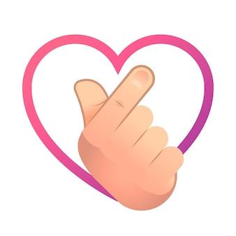 Illustrazione di cuore dito gradiente