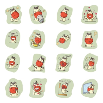 Illustrazione di cute cartoon cow set