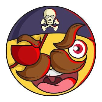 Illustrazione di cute emoji smiley pirata.