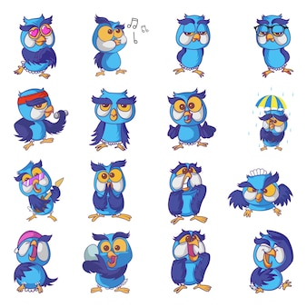Illustrazione di cute owl set