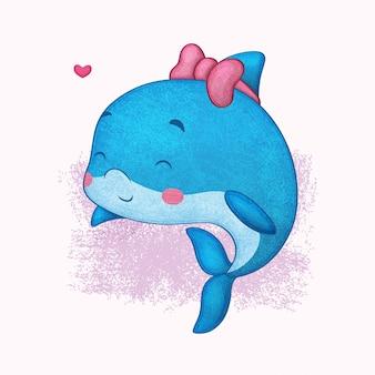 Illustrazione di delfino carino in stile matite colorate