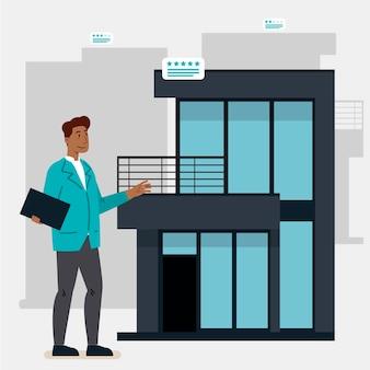 Illustrazione di design piatto assistenza agente immobiliare con l'uomo