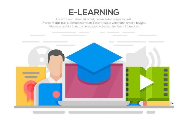 Illustrazione di design piatto concetto di e-learning, stile di linea sottile.