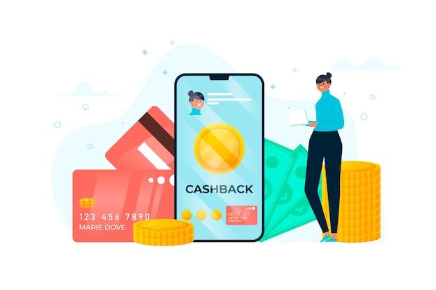 Illustrazione di design piatto del concetto di cashback
