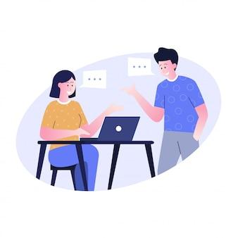 Illustrazione di design piatto della conversazione