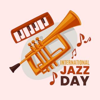 Illustrazione di design piatto della giornata internazionale del jazz con strumenti