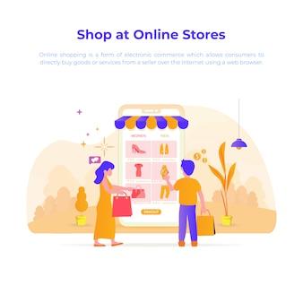 Illustrazione di design piatto di acquistare o negozio presso il negozio online