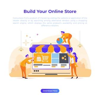 Illustrazione di design piatto per costruire negozio online per l'e-commerce