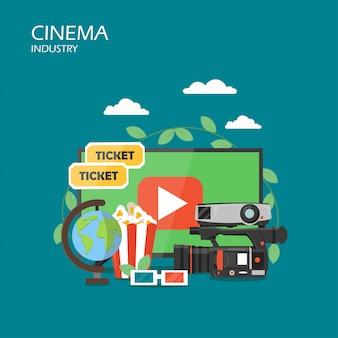 Illustrazione di design piatto stile industria cinematografica