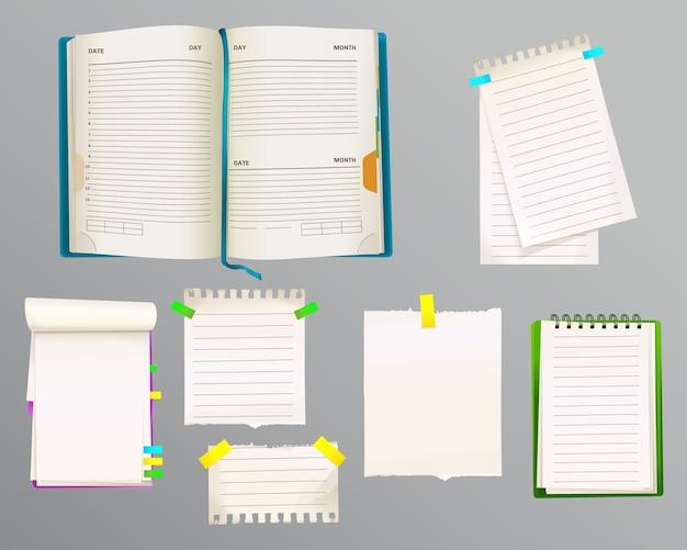 Illustrazione di diario e messaggio note di fogli di carta per le note con i segnalibri