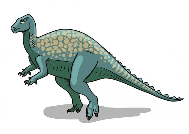 Illustrazione di dinosauro iguanodon in stile cartone animato.
