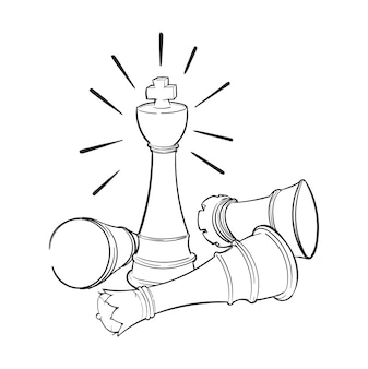 Illustrazione di disegno a mano del concetto di leadership
