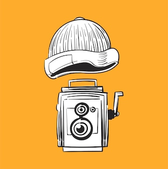 Illustrazione di disegno a mano di concetto di stile hipster
