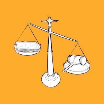 Illustrazione di disegno a mano di giustizia conecept