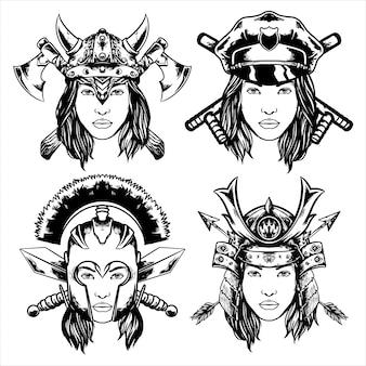 Illustrazione di disegno combattente donna