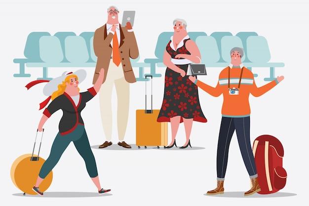Illustrazione di disegno del personaggio dei cartoni animati. persone dell'aeroporto gli uomini e le donne sono felici di incontrarsi. gli adulti usano la tavoletta