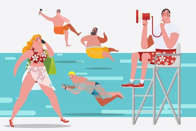 Illustrazione di disegno del personaggio dei cartoni animati. persone in piscina