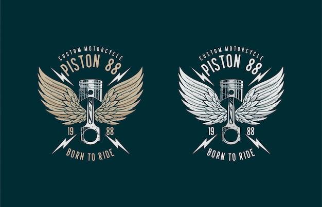Illustrazione di disegno di cultura personalizzata logo pistone bici