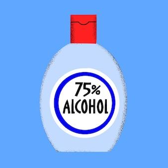 Illustrazione di disinfettante per alcol. illustrazione pandemica della bottiglia antisettica. scoppio covidico-19. coronavirus sullo sfondo.