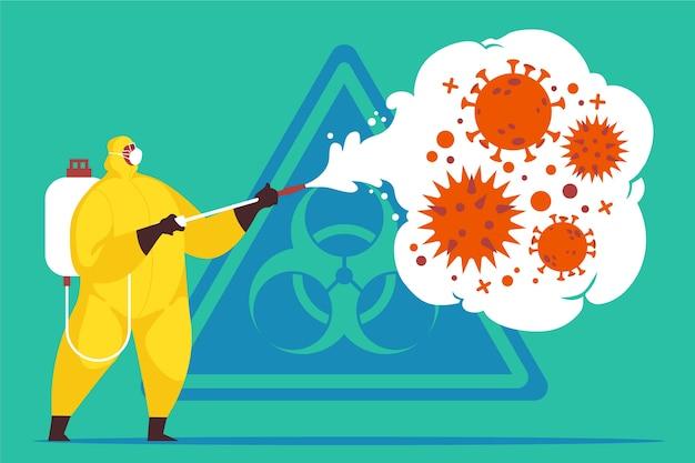 Illustrazione di disinfezione da virus
