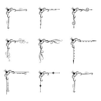 Illustrazione di divisione d'annata del confine di forme degli elementi di progettazione dell'ornamento di tipografia del libro del divisore del decoratice del separatore del testo