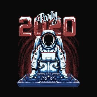 Illustrazione di dj astronauta