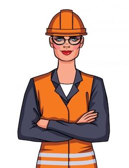 Illustrazione di donna ingegnere in bicchieri con le braccia incrociate in piedi