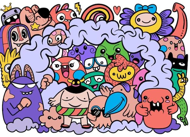 Illustrazione di doodle carino mostro sfondo, disegno a mano doodle