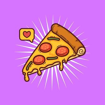 Illustrazione di doodle del fumetto di pizza
