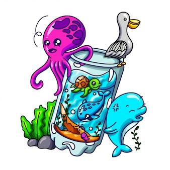Illustrazione di doodle di bottiglia di mare