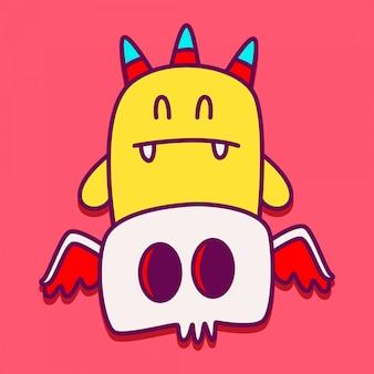Illustrazione di doodle di carattere mostro