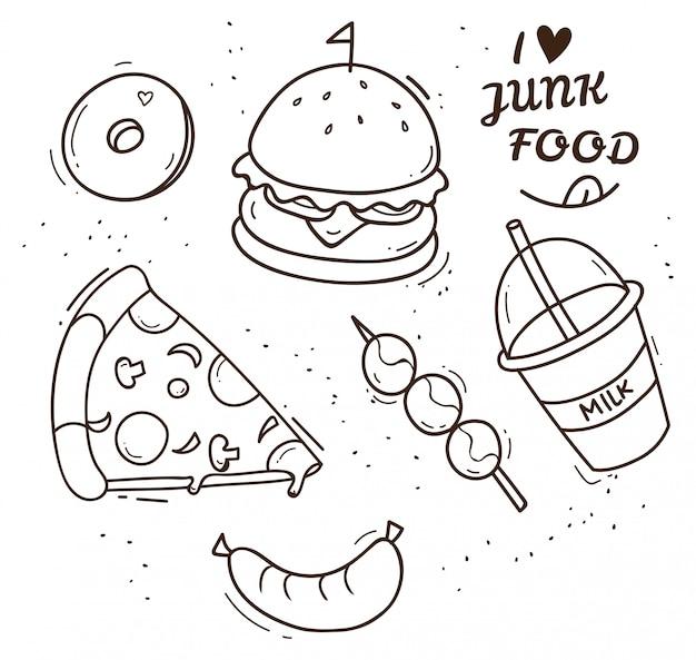 Illustrazione di doodle di cibo spazzatura