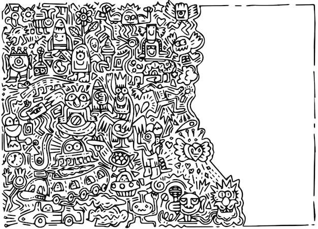 Illustrazione di doodle mostro carino con sfondo spazio copia, disegno a mano doodle