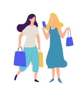 Illustrazione di due ragazze con acquisti.