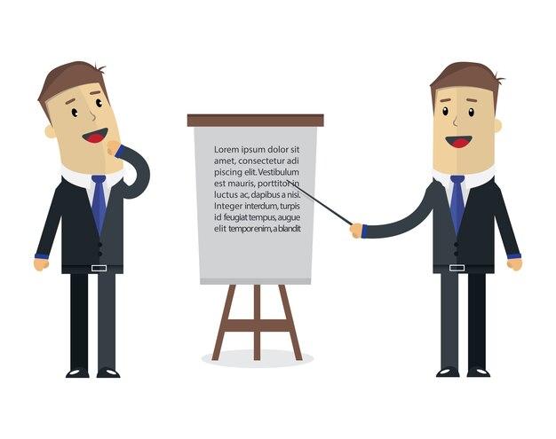 Illustrazione di due uomini d'affari. pensiero e presentazione a bordo