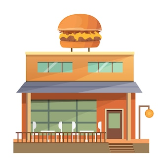 Illustrazione di edificio ristorante commerciale - burger house.