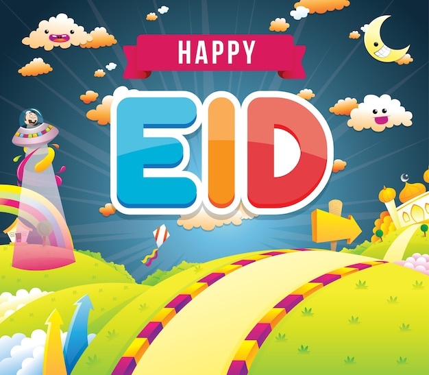 Illustrazione di eid felice con la moschea