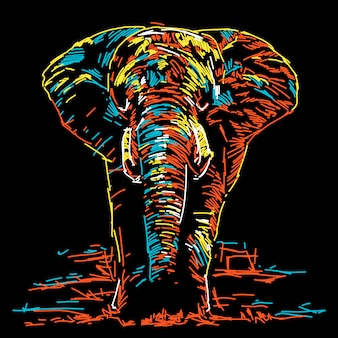 Illustrazione di elefante colorato astratto