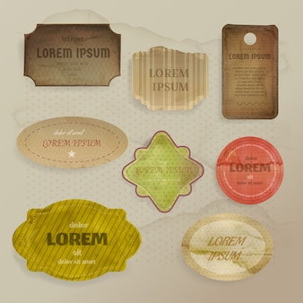 Illustrazione di elementi di carta scrapbooking di etichette vintage o tag con cornici stile retrò