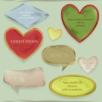 Illustrazione di elementi di scrapbooking di scarti di carta vintage, cornici cuore e etichetta decorativa
