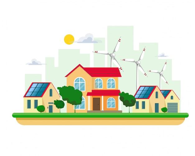 Illustrazione di energia elettrica pulita da fonti rinnovabili di sole e vento su bianco. costruzioni della centrale elettrica con i pannelli solari e le turbine di vento su un paesaggio urbano e case di campagna di paesaggio urbano